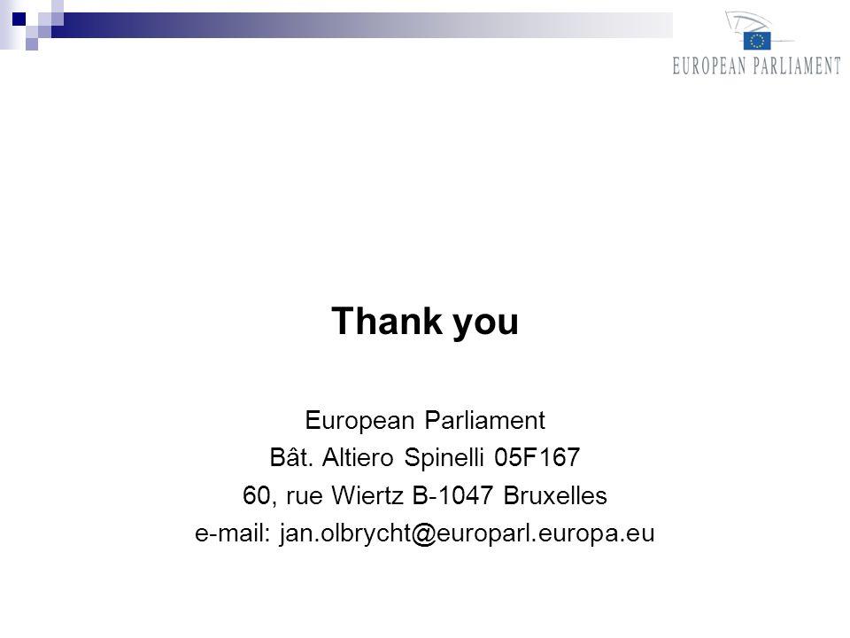 Thank you European Parliament Bât. Altiero Spinelli 05F167 60, rue Wiertz B-1047 Bruxelles e-mail: jan.olbrycht@europarl.europa.eu