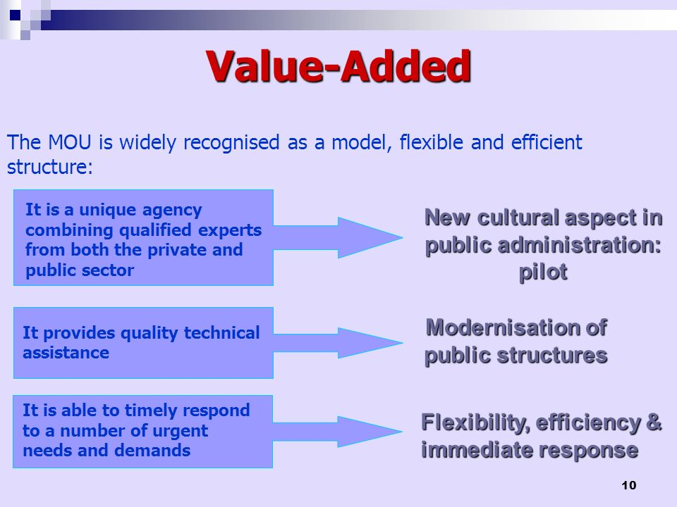10 Value-Added It is a unique agency combining qualified experts from both the private and public sector New cultural aspect in public administration: