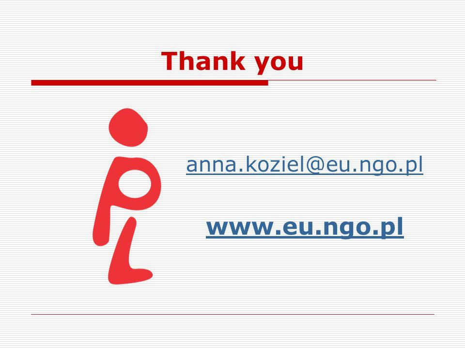 Thank you anna.koziel@eu.ngo.pl www.eu.ngo.pl