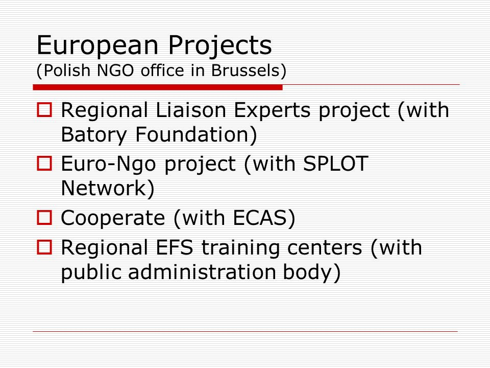 European Projects (Polish NGO office in Brussels) Regional Liaison Experts project (with Batory Foundation) Euro-Ngo project (with SPLOT Network) Cooperate (with ECAS) Regional EFS training centers (with public administration body)