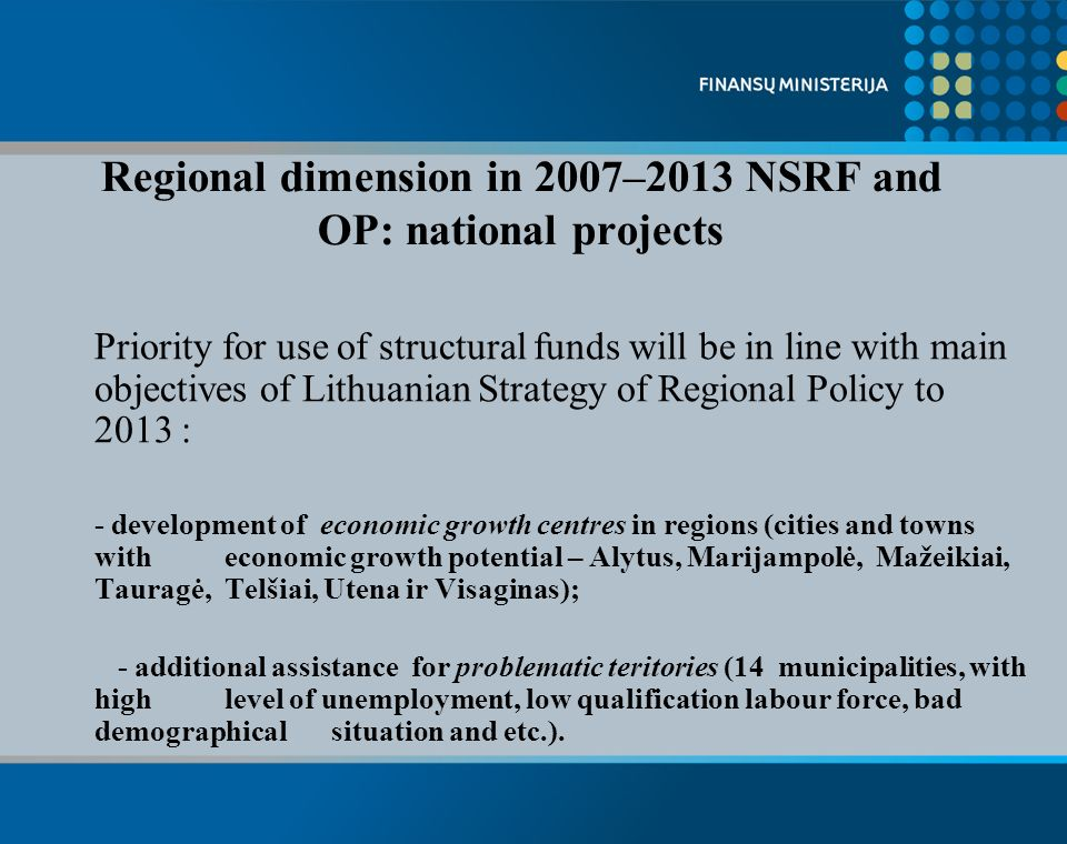 Problematic teritories Regional centres Additional centres Specific teritories under imlpementation of National Regional policy