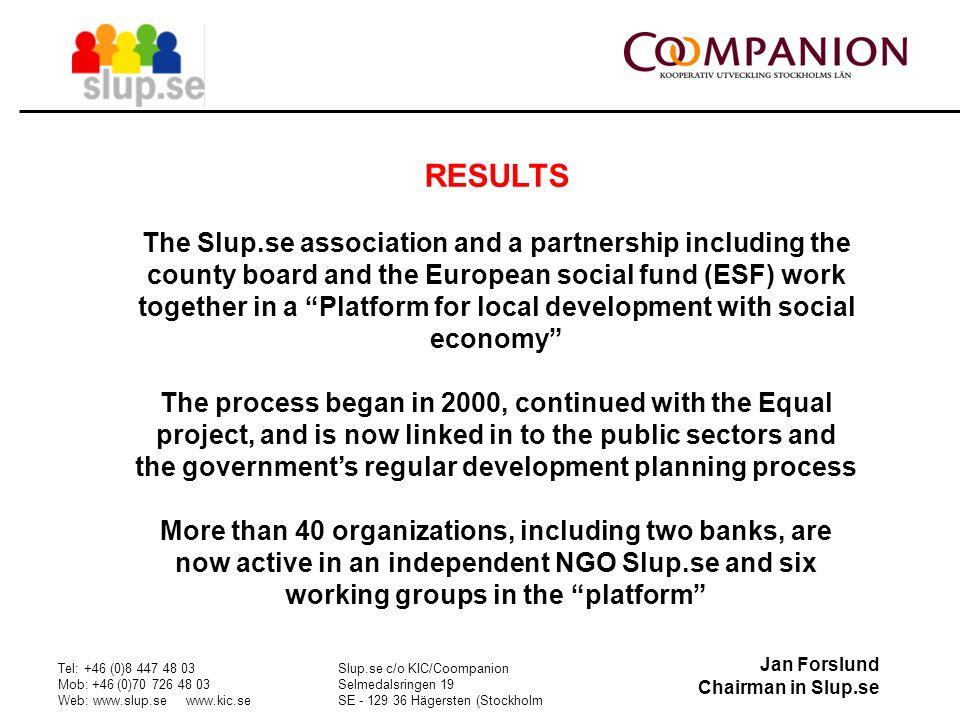 Jan Forslund Chairman in Slup.se Tel: +46 (0)8 447 48 03 Mob: +46 (0)70 726 48 03 Web: www.slup.se www.kic.se Slup.se c/o KIC/Coompanion Selmedalsring
