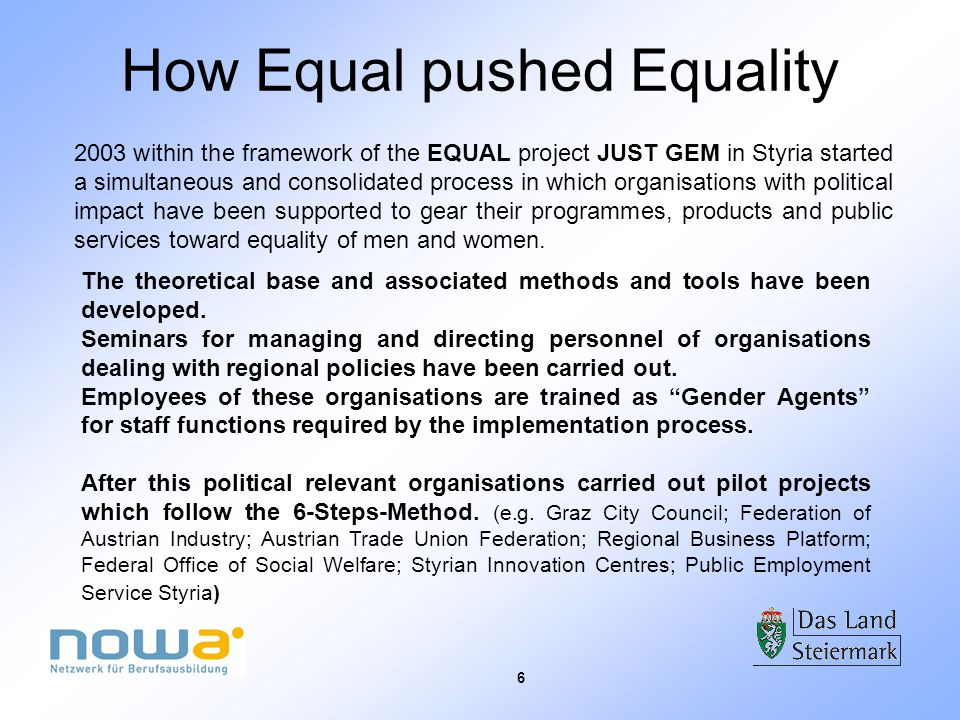6 How Equal pushed Equality 2003 within the framework of the EQUAL project JUST GEM in Styria started a simultaneous and consolidated process in which organisations with political impact have been supported to gear their programmes, products and public services toward equality of men and women.