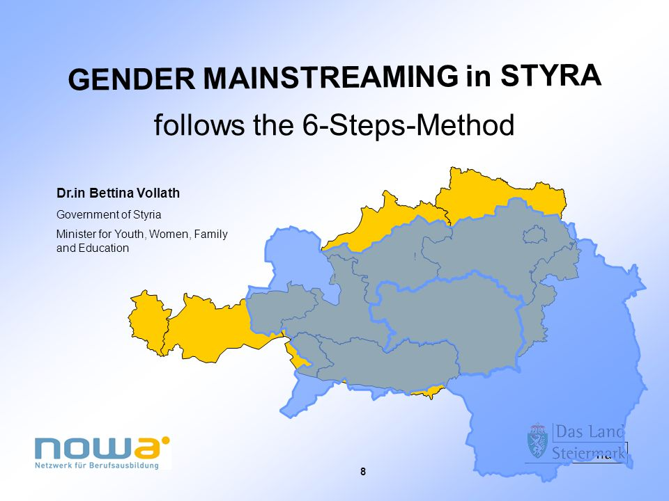 8 ! ! GENDER MAINSTREAMING in STYRA follows the 6-Steps-Method Dr.in Bettina Vollath Government of Styria Minister for Youth, Women, Family and Educat