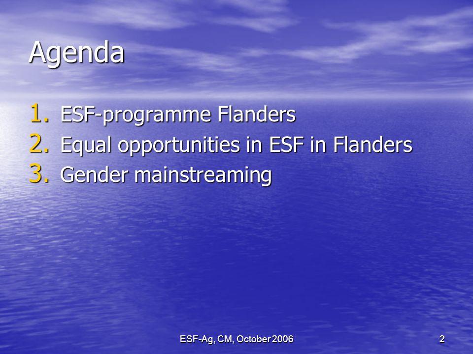 ESF-Ag, CM, October 20062 Agenda 1. ESF-programme Flanders 2.