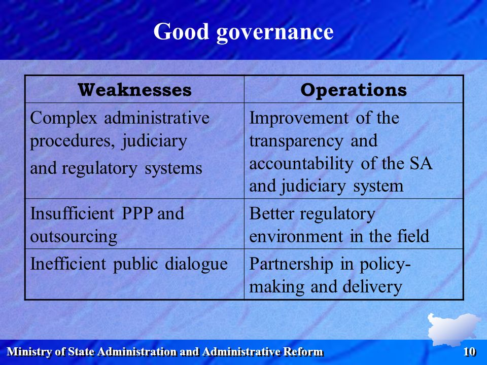 Ministry of State Administration and Administrative Reform 10 Good governance WeaknessesOperations Complex administrative procedures, judiciary and re