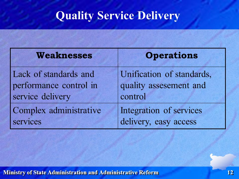 Ministry of State Administration and Administrative Reform 12 Quality Service Delivery WeaknessesOperations Lack of standards and performance control