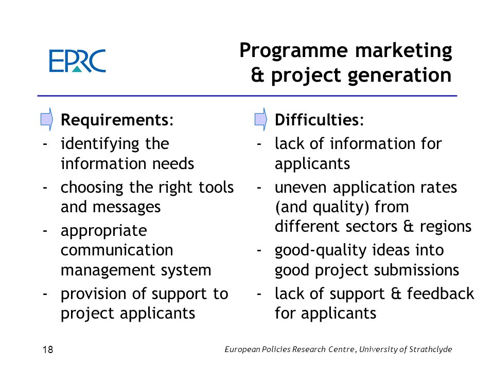 European Policies Research Centre, University of Strathclyde 18 Programme marketing & project generation Requirements: -identifying the information ne