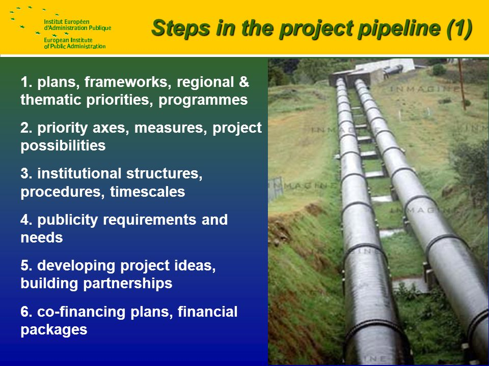 © EIPA – Robin Smail / Capacity-building 2 Steps in the project pipeline (1) 1.