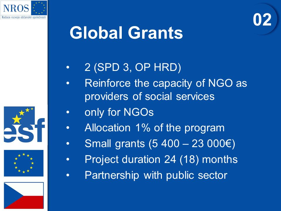 Global Grants 2 (SPD 3, OP HRD) Reinforce the capacity of NGO as providers of social services only for NGOs Allocation 1% of the program Small grants