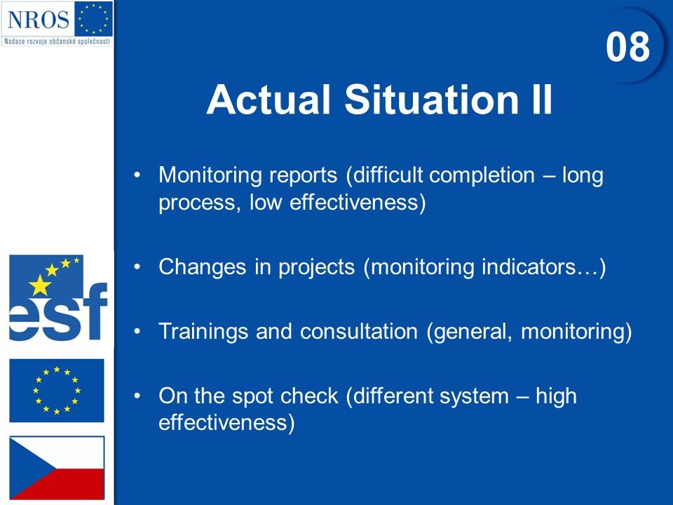 Actual Situation II 0808 Monitoring reports (difficult completion – long process, low effectiveness) Changes in projects (monitoring indicators…) Trai