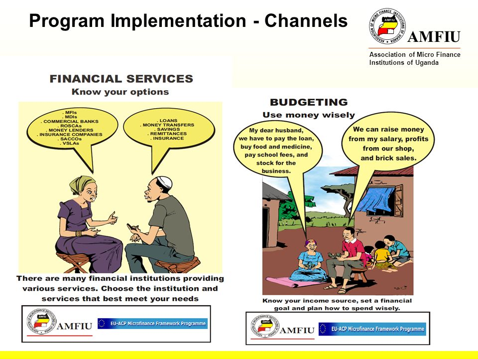 AMFIU Association of Micro Finance Institutions of Uganda Posters Program Implementation - Channels