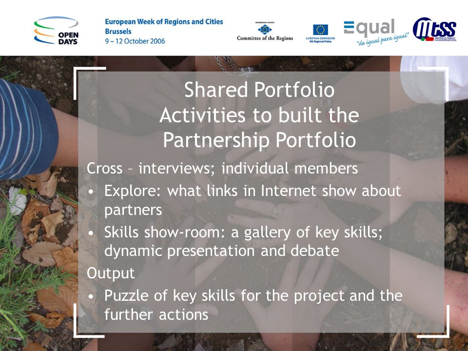 Shared Portfolio Activities to built the Partnership Portfolio Cross – interviews; individual members Explore: what links in Internet show about partners Skills show-room: a gallery of key skills; dynamic presentation and debate Output Puzzle of key skills for the project and the further actions