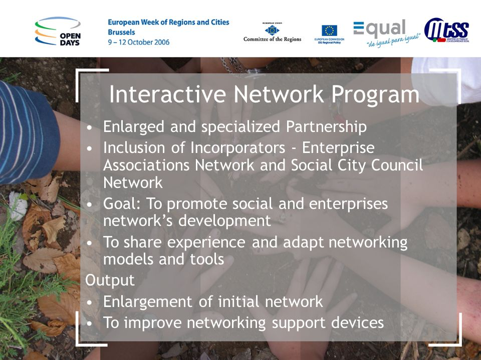 Interactive Network Program Enlarged and specialized Partnership Inclusion of Incorporators - Enterprise Associations Network and Social City Council