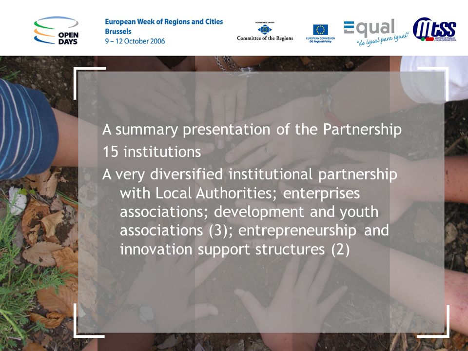 A summary presentation of the Partnership 15 institutions A very diversified institutional partnership with Local Authorities; enterprises associations; development and youth associations (3); entrepreneurship and innovation support structures (2)