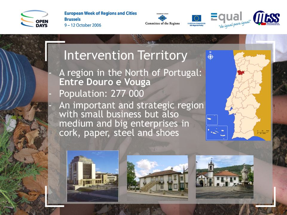 Intervention Territory -A region in the North of Portugal: Entre Douro e Vouga -Population: 277 000 -An important and strategic region with small business but also medium and big enterprises in cork, paper, steel and shoes