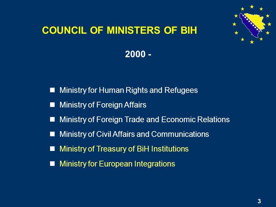 3 Ministry for Human Rights and Refugees Ministry of Foreign Affairs Ministry of Foreign Trade and Economic Relations Ministry of Civil Affairs and Communications Ministry of Treasury of BiH Institutions Ministry for European Integrations 2000 - 3 COUNCIL OF MINISTERS OF BIH