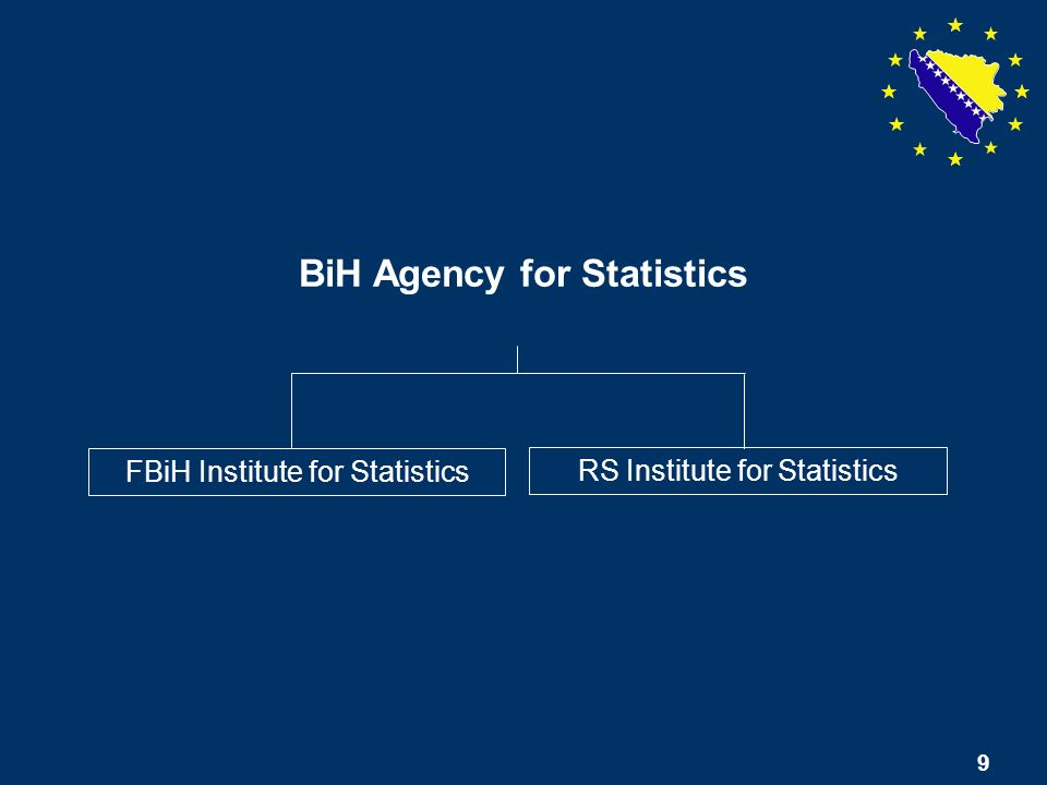 9 BiH Agency for Statistics FBiH Institute for Statistics RS Institute for Statistics 9