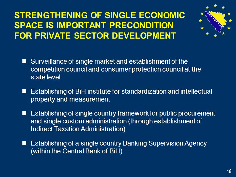 18 Surveillance of single market and establishment of the competition council and consumer protection council at the state level Establishing of BiH institute for standardization and intellectual property and measurement Establishing of single country framework for public procurement and single custom administration (through establishment of Indirect Taxation Administration) Establishing of a single country Banking Supervision Agency (within the Central Bank of BiH) STRENGTHENING OF SINGLE ECONOMIC SPACE IS IMPORTANT PRECONDITION FOR PRIVATE SECTOR DEVELOPMENT 18