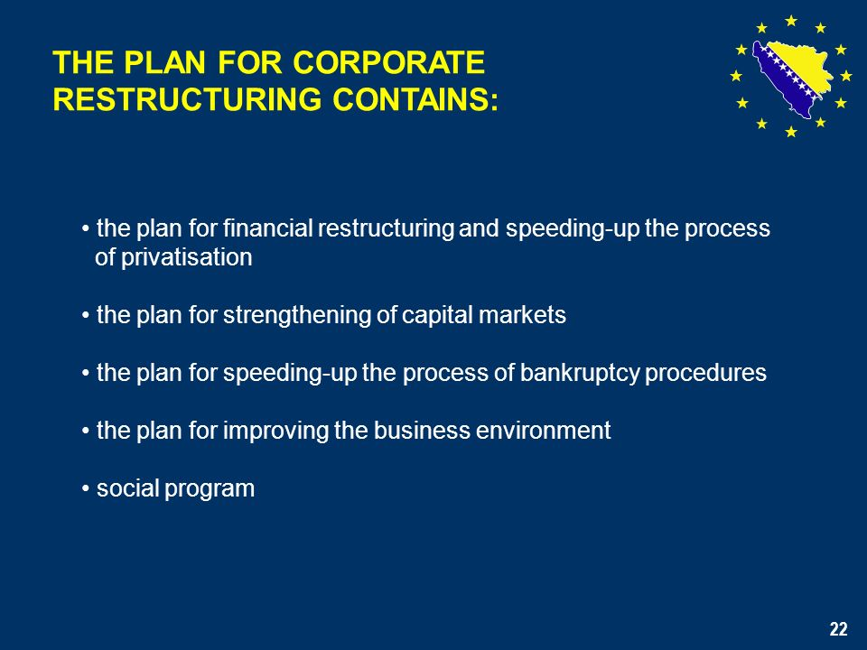 22 THE PLAN FOR CORPORATE RESTRUCTURING CONTAINS: the plan for financial restructuring and speeding-up the process of privatisation the plan for strengthening of capital markets the plan for speeding-up the process of bankruptcy procedures the plan for improving the business environment social program 22