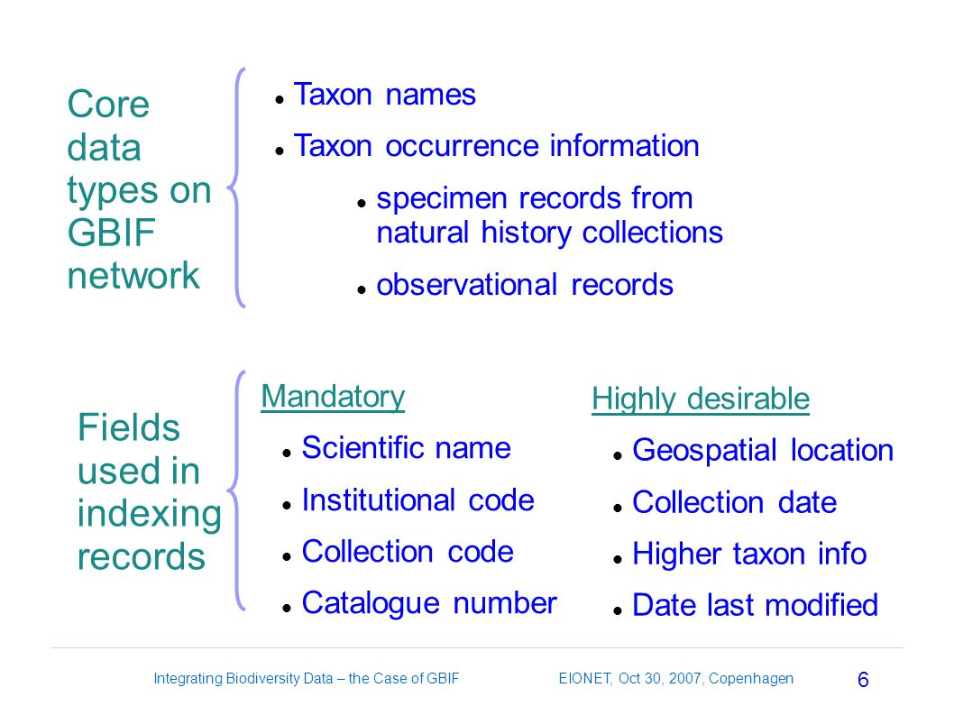 6 Integrating Biodiversity Data – the Case of GBIF EIONET, Oct 30, 2007, Copenhagen Core data types on GBIF network Taxon names Taxon occurrence information specimen records from natural history collections observational records Fields used in indexing records Mandatory Scientific name Institutional code Collection code Catalogue number Highly desirable Geospatial location Collection date Higher taxon info Date last modified