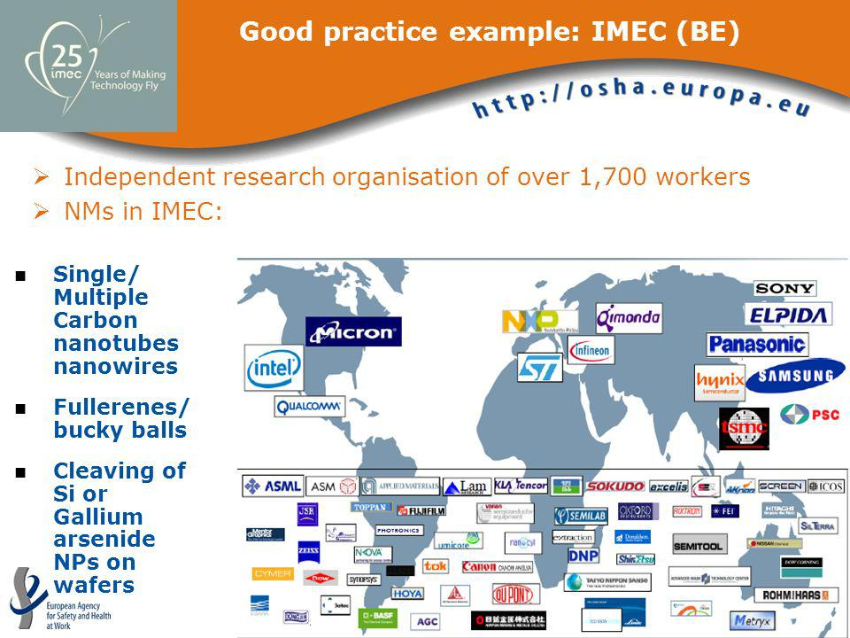 Good practice example: IMEC (BE) Independent research organisation of over 1,700 workers NMs in IMEC: Single/ Multiple Carbon nanotubes nanowires Full