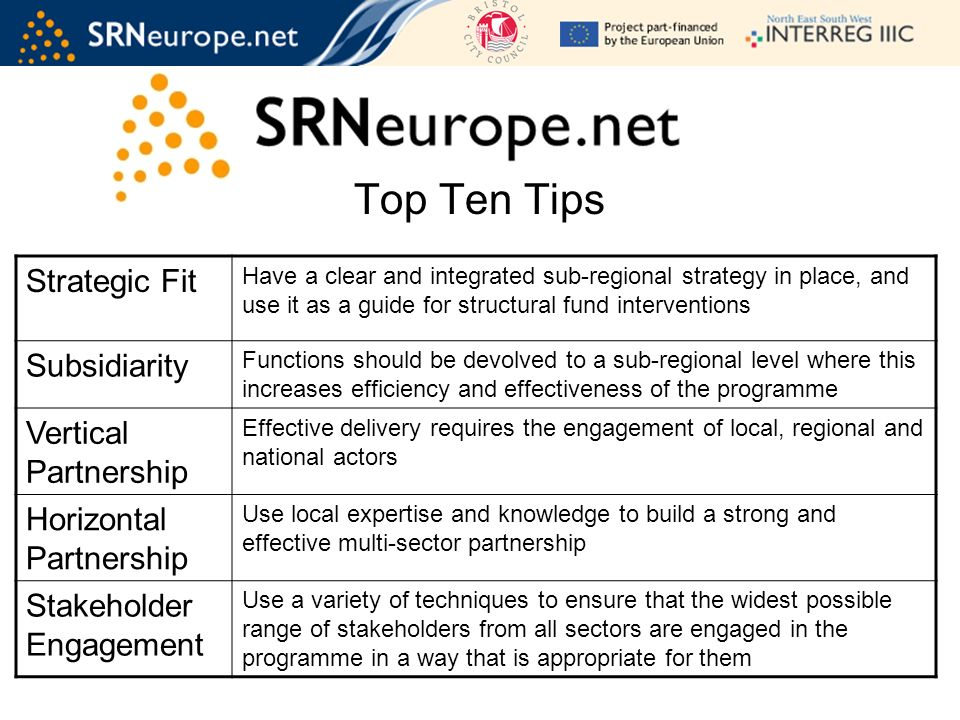 Top Ten Tips Strategic Fit Have a clear and integrated sub-regional strategy in place, and use it as a guide for structural fund interventions Subsidiarity Functions should be devolved to a sub-regional level where this increases efficiency and effectiveness of the programme Vertical Partnership Effective delivery requires the engagement of local, regional and national actors Horizontal Partnership Use local expertise and knowledge to build a strong and effective multi-sector partnership Stakeholder Engagement Use a variety of techniques to ensure that the widest possible range of stakeholders from all sectors are engaged in the programme in a way that is appropriate for them