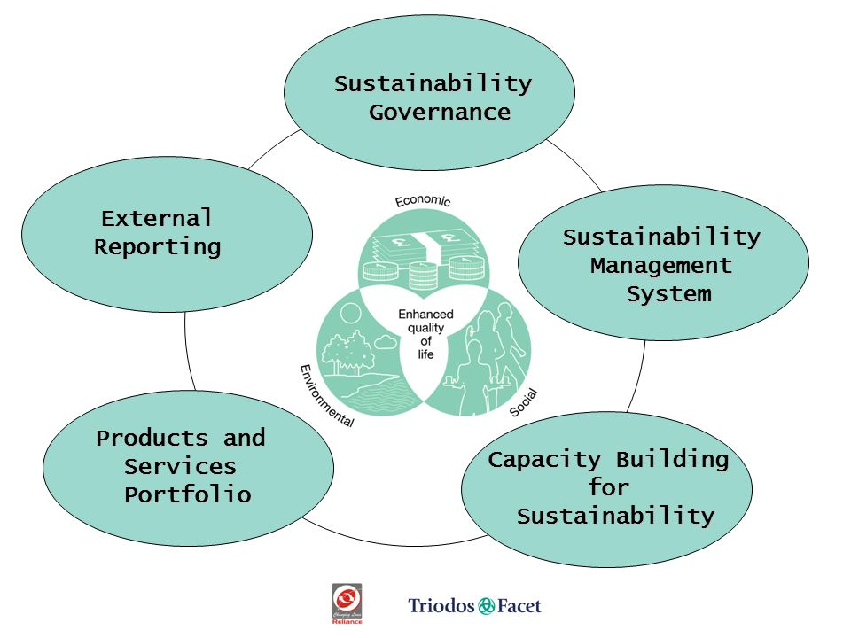 SustainabilityManagementSystem SustainabilityGovernance Products and ServicesPortfolio ExternalReporting Capacity Building forSustainability