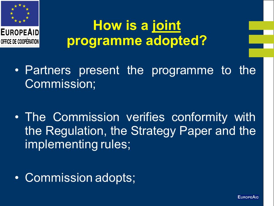 How is a joint programme adopted.