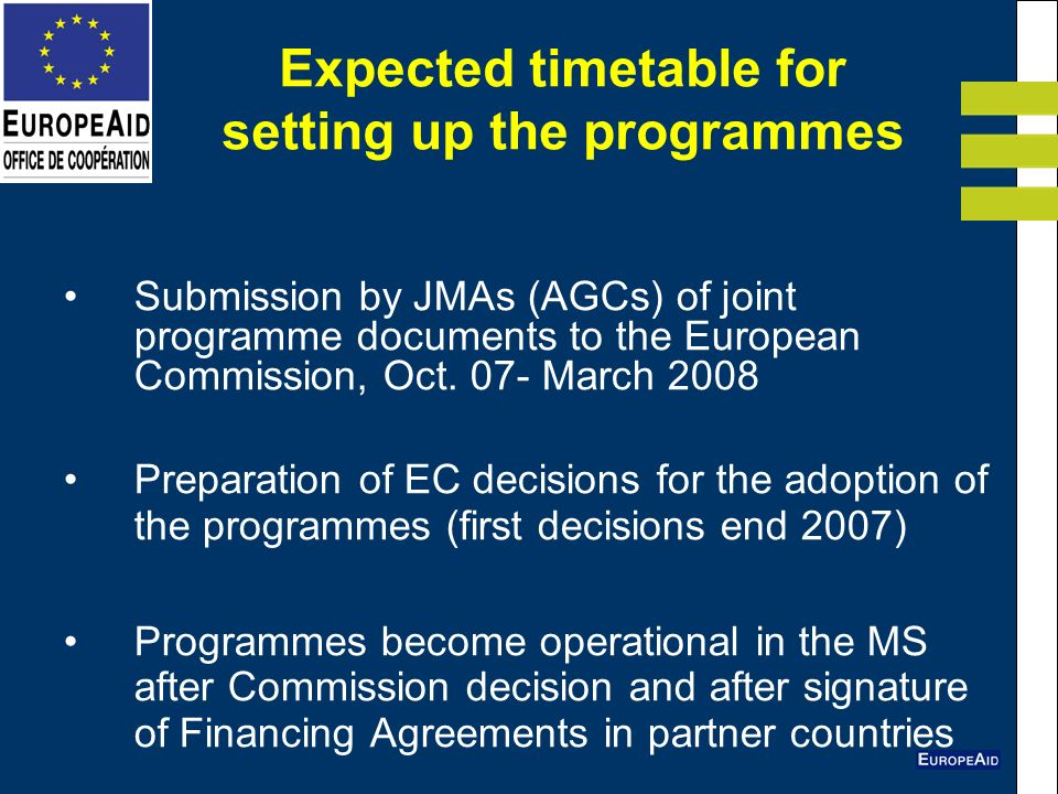 Expected timetable for setting up the programmes Submission by JMAs (AGCs) of joint programme documents to the European Commission, Oct.