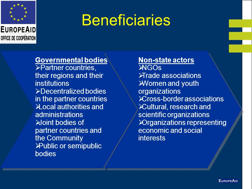 Beneficiaries Governmental bodies Partner countries, their regions and their institutions Decentralized bodies in the partner countries Local authorities and administrations Joint bodies of partner countries and the Community Public or semipublic bodies Non-state actors NGOs Trade associations Women and youth organizations Cross-border associations Cultural, research and scientific organizations Organizations representing economic and social interests