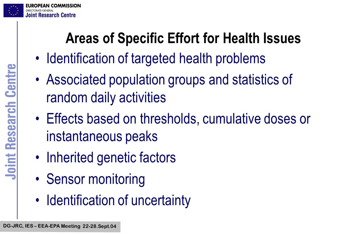 DG-JRC, IES – EEA-EPA Meeting 22-28.Sept.04 Areas of Specific Effort for Health Issues Identification of targeted health problems Associated populatio