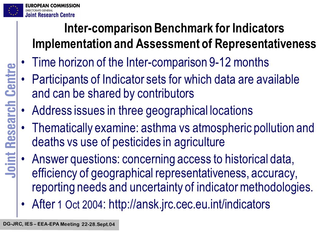 DG-JRC, IES – EEA-EPA Meeting 22-28.Sept.04 Inter-comparison Benchmark for Indicators Implementation and Assessment of Representativeness Time horizon