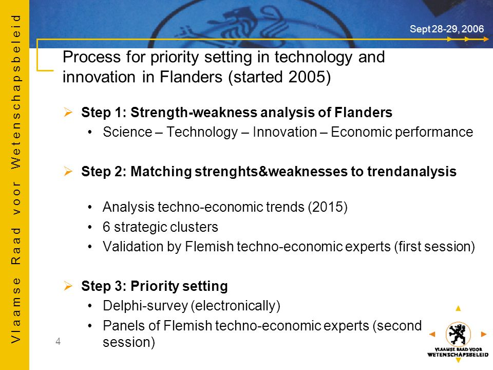 V l a a m s e R a a d v o o r W e t e n s c h a p s b e l e i d 5 Sept 28-29, 2006 Criteria for priority setting Which development in technology and innovation has the greatest potential to create wealth in Flanders starting from a current technological strength.