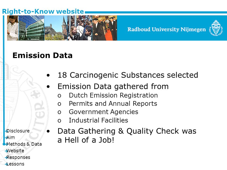 è Disclosure è Aim è Methods & Data è Website è Responses è Lessons Right-to-Know website Emission Data 18 Carcinogenic Substances selected Emission Data gathered from oDutch Emission Registration oPermits and Annual Reports oGovernment Agencies oIndustrial Facilities Data Gathering & Quality Check was a Hell of a Job!