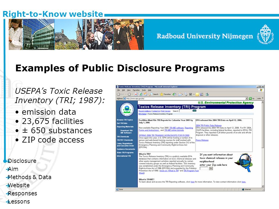 è Disclosure è Aim è Methods & Data è Website è Responses è Lessons Right-to-Know website Examples of Public Disclosure Programs USEPAs Toxic Release Inventory (TRI; 1987): emission data 23,675 facilities ± 650 substances ZIP code access