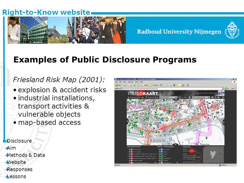 è Disclosure è Aim è Methods & Data è Website è Responses è Lessons Right-to-Know website Examples of Public Disclosure Programs Friesland Risk Map (2