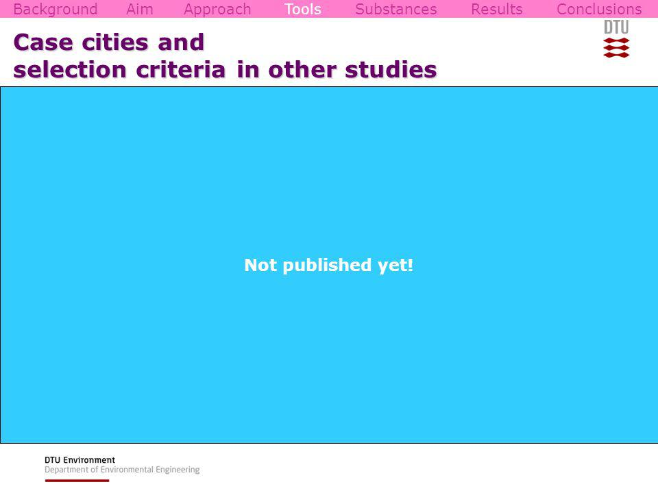 Case cities and selection criteria in other studies 87 project reviewed, 31 contacted, 17 replied Primary selection criteria Geographical location Good contact Secondary selection criteria City characteristics Climate Data End-users Management and governance Technique/structure BackgroundAimApproachToolsSubstancesResultsConclusions Not published yet!