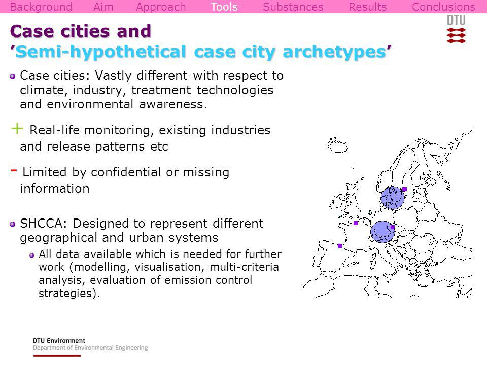 Case cities andSemi-hypothetical case city archetypes Case cities: Vastly different with respect to climate, industry, treatment technologies and environmental awareness.