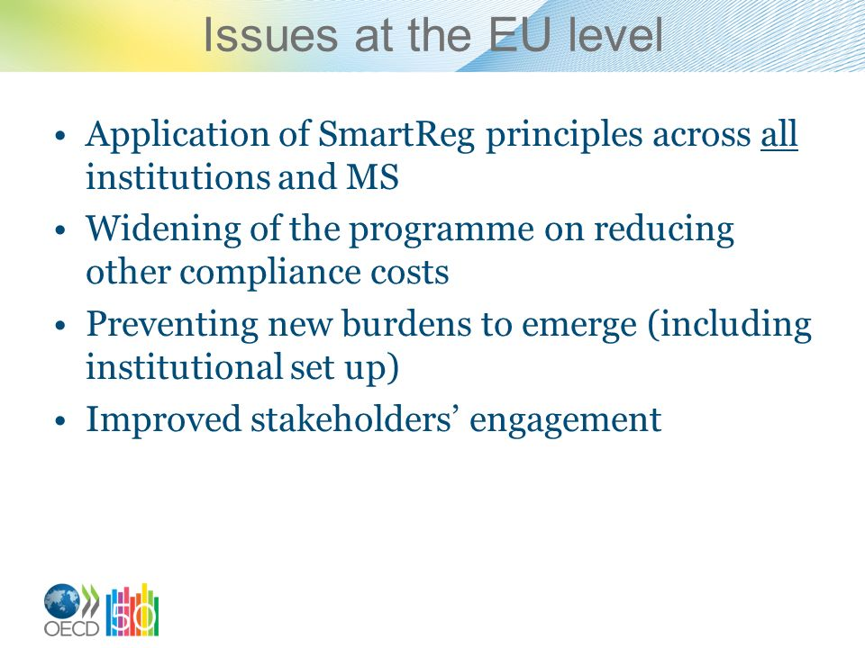 Issues at the EU level Application of SmartReg principles across all institutions and MS Widening of the programme on reducing other compliance costs Preventing new burdens to emerge (including institutional set up) Improved stakeholders engagement