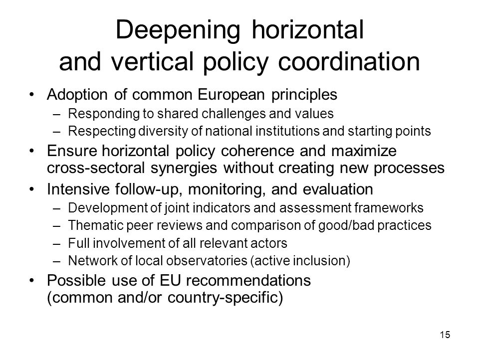 15 Deepening horizontal and vertical policy coordination Adoption of common European principles –Responding to shared challenges and values –Respecting diversity of national institutions and starting points Ensure horizontal policy coherence and maximize cross-sectoral synergies without creating new processes Intensive follow-up, monitoring, and evaluation –Development of joint indicators and assessment frameworks –Thematic peer reviews and comparison of good/bad practices –Full involvement of all relevant actors –Network of local observatories (active inclusion) Possible use of EU recommendations (common and/or country-specific)