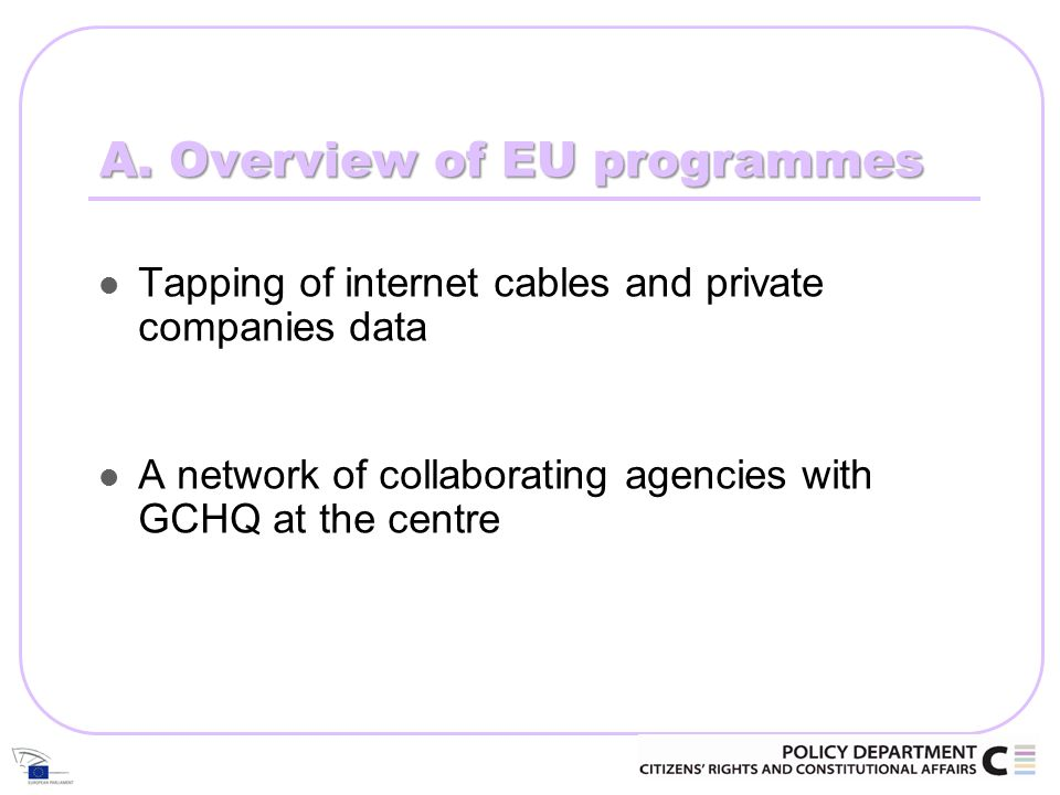 A. Overview of EU programmes Tapping of internet cables and private companies data A network of collaborating agencies with GCHQ at the centre
