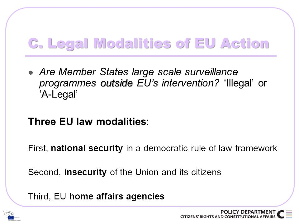 C. Legal Modalities of EU Action outside Are Member States large scale surveillance programmes outside EUs intervention? Illegal or A-Legal Three EU l