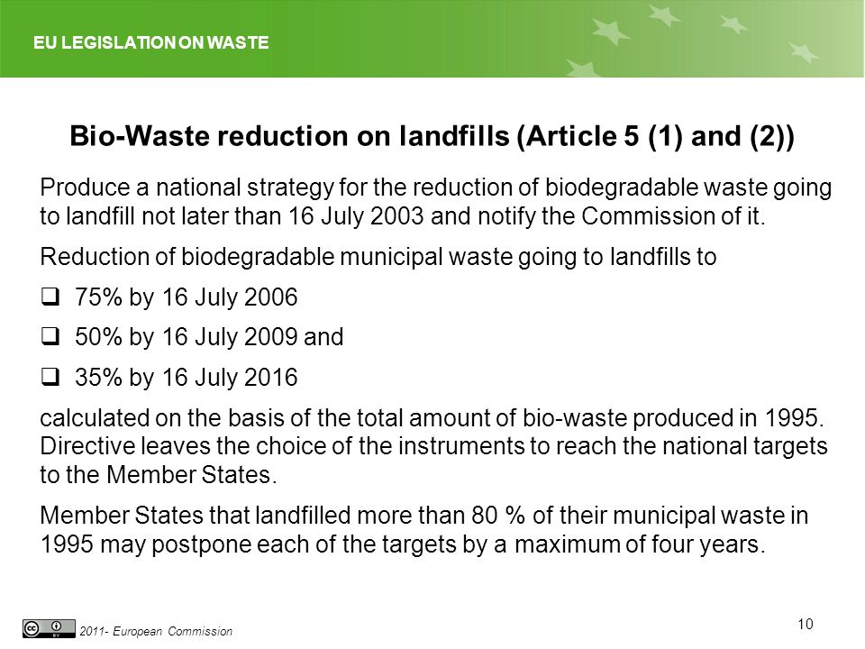 EU LEGISLATION ON WASTE 2011- European Commission 10 Bio-Waste reduction on landfills (Article 5 (1) and (2)) Produce a national strategy for the redu