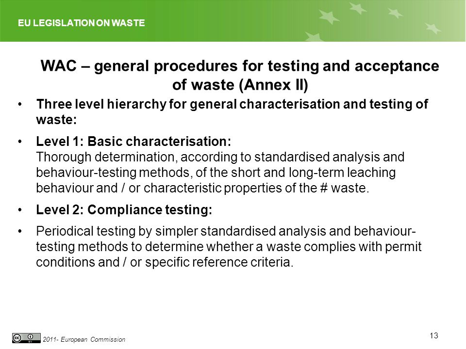 EU LEGISLATION ON WASTE 2011- European Commission 13 WAC – general procedures for testing and acceptance of waste (Annex II) Three level hierarchy for