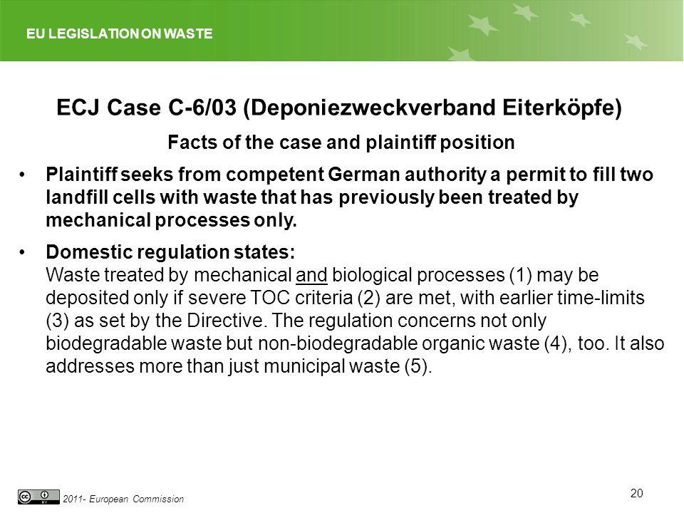 EU LEGISLATION ON WASTE 2011- European Commission 20 ECJ Case C-6/03 (Deponiezweckverband Eiterköpfe) Facts of the case and plaintiff position Plainti