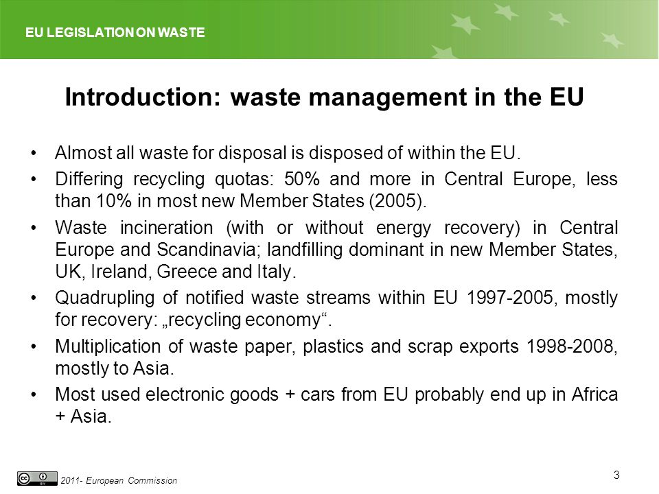 EU LEGISLATION ON WASTE 2011- European Commission Introduction: waste management in the EU Almost all waste for disposal is disposed of within the EU.
