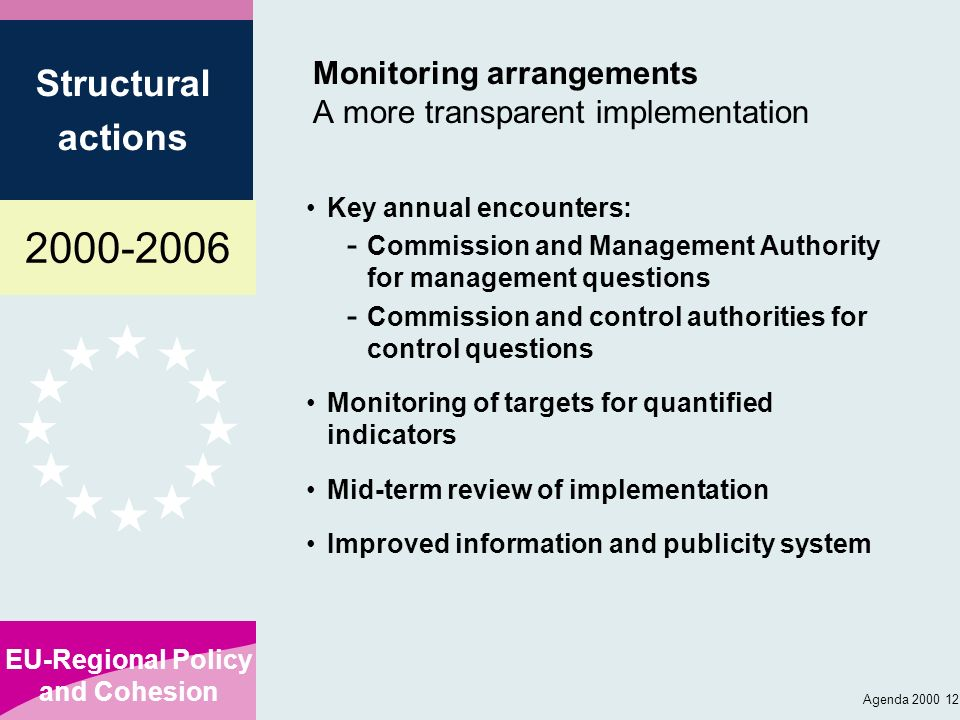 2000-2006 EU-Regional Policy and Cohesion Structural actions Agenda 2000 12 Monitoring arrangements A more transparent implementation Key annual encou