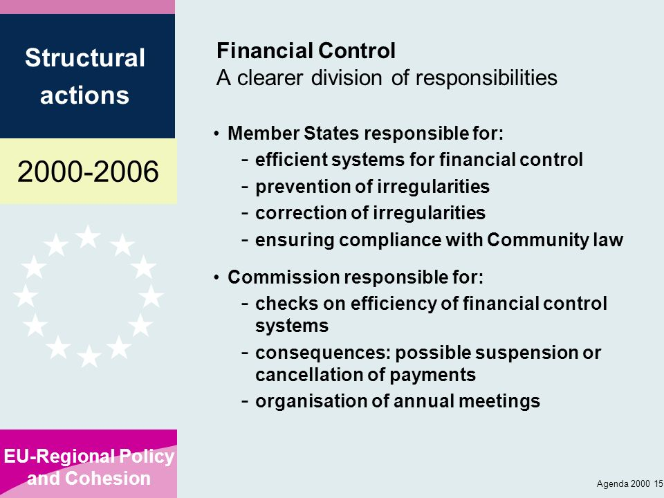 2000-2006 EU-Regional Policy and Cohesion Structural actions Agenda 2000 15 Financial Control A clearer division of responsibilities Member States res