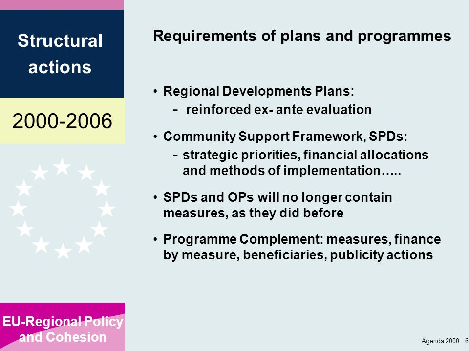 2000-2006 EU-Regional Policy and Cohesion Structural actions Agenda 2000 6 Requirements of plans and programmes Regional Developments Plans: - reinfor